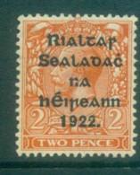 Ireland 1922 2d Orange Die II Opt. Blue-Blk 14.5x16mm Thom MLH Lot78456 - Oblitérés