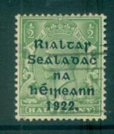 Ireland 1922 1/2d Green Provisional Opt. Blue-Blk 15.75x16mm Thom FU Lot78463 - Oblitérés