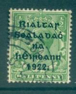 Ireland 1922 1/2d Green Provisional Opt. Blue-Blk 15.75x16mm Thom FU Lot78465 - 1922-37 Irish Free State