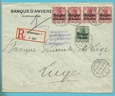 BZ 3+4 Op Brief Aangetekend Stempel ANTWERPEN, Geschlossen Gouvernemensts ANTWERPEN - [OC1/25] General Gov.