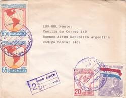 ENVELOPE CIRCULEE PARAGUAY TO ARGENTINA 1988 POR AVION MIXED STAMPS STAMP A PAIR - BLEUP - Paraguay