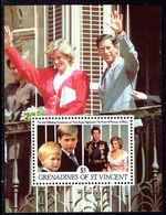 St Vincent Grenadines 1991 Princess Of Wales Wedding Anniversary Souvenir Sheet Unmounted Mint. - St.Vincent & Grenadines