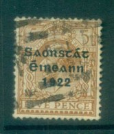 Ireland 1922 5d Yellow-brown Provisional Opt. Blue-Blk 3 Line Thom FU Lot78491 - 1922-37 Irish Free State