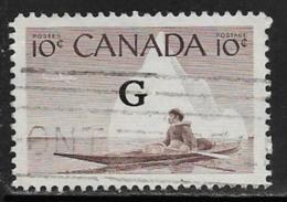 Canada Scott # O39 Used Eskimo , Kayak Overprinted G, 1955 - Overprinted