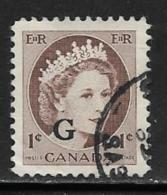 Canada Scott # O40-1,O43-5,O45a,O46 Used Canada Official G Overprints, 1955-63 - Overprinted