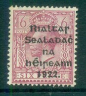 Ireland 1922 6d Purple Provisional Opt. Blk 14.5x16mm Thom MLH Lot78410 - 1922-37 Irish Free State