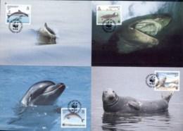 Guernsey 1990 WWF Guernsey Sea Life, Seal, Whale Maxicards - Guernsey