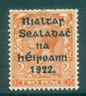 Ireland 1922 2d Orange Die I Provisional Opt. Blk 15x17mm Coil Harrison MLH Lot78414 - 1922-37 Irish Free State
