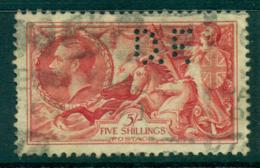 GB 1919 Seahorses Redrawn 5/- Perfin DE FU Lot32699 - 1902-1951 (Könige)