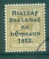 Ireland 1922 1/- Bister Provisional Opt. Blue-Blk 15.75x16mm Thom(suspect Cancel) FU Lot78473 - 1922-37 Irish Free State