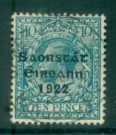 Ireland 1922 10d Turquoise Blue Provisional Opt. Blue-Blk 3 Line Thom FU Lot78496 - 1922-37 Irish Free State