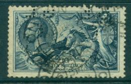 GB 1919 Seahorses Redrawn Perfin GLC 10/- FU Lot32694 - 1902-1951 (Könige)