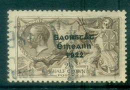 Ireland 1927-28 2/6d Chocolate -brown Seahorse Provisional Opt. Blue-Blk 3 Line Wide Date FU Lot78517 - 1922-37 Irish Free State