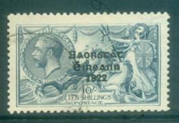 Ireland 1925 10- Grey Blue Seahorse Provisional Opt. Blue-Blk 3 Line Narrow Date(suspect Cancel) FU Lot78516 - 1922-37 Irish Free State