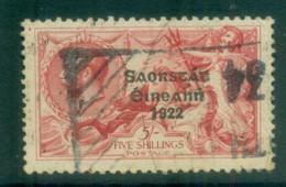 Ireland 1925 5/- Rose-red Seahorse Provisional Opt. Blue-Blk 3 Line Narrow Date FU Lot78515 - 1922-37 Irish Free State