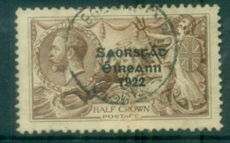 Ireland 1925 2/6d Chocolate -brown Seahorse Provisional Opt. Blue-Blk 3 Line Narrow Date FU Lot78514 - 1922-37 Irish Free State