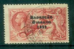 Ireland 1935 5/- Carmine Seahorse Provisional Opt. Blue-Blk 3 Line Re-engraved FU Lot78522 - 1922-37 Irish Free State