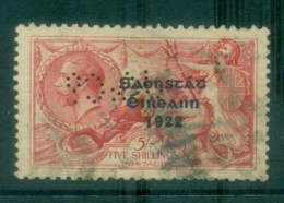 Ireland 1922 5/- Rose-red Seahorse Provisional Opt. Blue-Blk 3 Line Thom PERFIN FU Lot78507 - 1922-37 Irish Free State