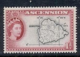 Ascension Is 1956 QEII Pictorials Map 1d MUH - Ascension (Ile De L')