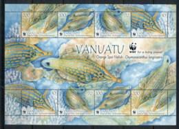 Vanuatu 2013 WWF Orange Spot Filefish MS MUH - Vanuatu (1980-...)