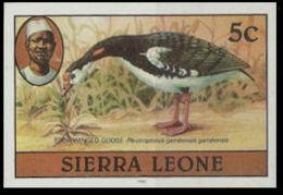 SIERRA LEONE 1980 Birds Goose 5c Imprint 1982 Wmk CA IMPERF - Coucous, Touracos