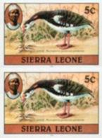 SIERRA LEONE 1980 Birds Goose 5c Imprint 1982 Wmk CA IMPERF.PAIR - Coucous, Touracos