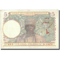 Billet, French West Africa, 5 Francs, 1943, 1943-03-02, KM:26, TTB - West African States