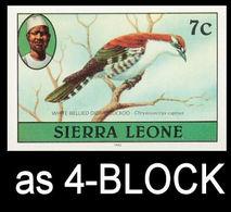 SIERRA LEONE 1980 Birds Didric Cuckoo 7c Imp.1982 Wmk CA IMPERF.4-BLOCK - Oies