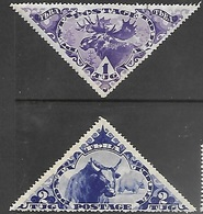 Tannu Tuva 1935  Sc#67-8  1t Moose & 2t Yak  MNG  2016 Scott Value $6 - Tuva