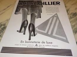 ANCIENNE PUBLICITE BONNETERIE  JIL ETABLISSEMENT ANDRE GILLIER 1930 - Publicités