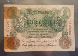 EBN7 - Germany 1906 Banknote 50 Mark Pick 26b #D.1930687 - [ 2] 1871-1918 : Duitse Rijk