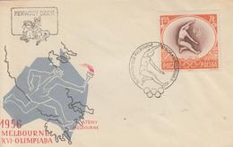 Enveloppe  FDC   1er   Jour    POLOGNE     JEUX   OLYMPIQUES  De   MELBOURNE   1956 - Summer 1956: Melbourne