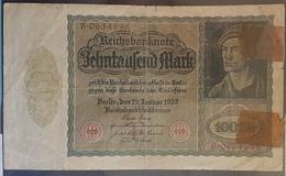 EBN7 - Germany 1922 Banknote 10000 Mark Pick 70 #Z.0634698 - [ 3] 1918-1933 : Weimar Republic