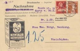 Schweiz: 1920: Nachnahme Drucksache Lüttzelflüh Nach Rheinfelden, Haferflocken - Switzerland
