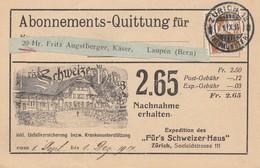 Schweiz: 1914: Zürich; Abonnements - Quittung Nach Laupen - Switzerland