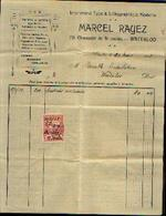 Facture Imprimerie  MARCEL  RAYEZ, WATERLOO (1923) - Belgique
