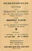 (MOUSTIER-SUR-SAMBRE : Souvenir De La Bénédiction D'une Cloche En L'église St-Frédégand (04/01/1948) - Non Classés