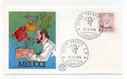 Italia - 1978 - Busta FDC Filagrano - Antonio Meucci - Con Doppio Annullo Trento - (FDC13826) - 6. 1946-.. Repubblica
