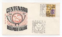 Italia - 1962 - Busta FDC Filagrano - Centenario Delle Poste Italiane - Con Doppio Annullo Roma - (FDC13829) - 6. 1946-.. Repubblica