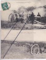 Militaria (Lot De 2 Cartes)L'Artillerie De Campagne Au Tir.Pièce,Feu ! ..Ecole à Feu .Pièce De 80 -Pointer - Manoeuvres