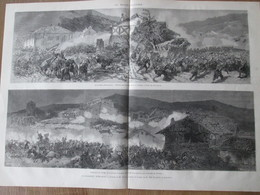 Gravure  1872  BATAILLE  D OROQUIETA  FUITES DE DON CARLOS   GUERRE CIVILE D ESPAGNE   + ATTAQUE VILLAGE LUMBIER - Vieux Papiers
