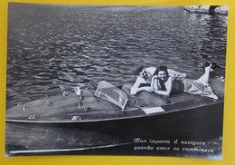 Coppia Innamorati In Barca Frase D'amore Cartolina Bromofoto Vera Fotografia - Coppie