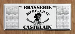 Rare Autocollant-calendrier Publicitaire 1987 Brasserie CASTELAIN Bière De Ch'Ti - Autres Collections