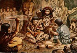 CHROMO  ENCYCLORAMA  LA VIE DE NOS ANCETRES  SEPULTURE ET TREPANATION - Trade Cards