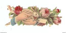 CHROMO DÉCOUPIS - LAPIN DANS UN MÉDAILLON FLEURS - SH & C - RABBIT IN A FLOWER MEDALLION - Animals