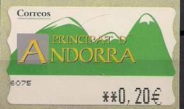 2001 Andorra  Esp.  ATM  Mi.  4**MNH  0,20 EUR Timbres De Distributeurs - Neufs