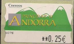 2001 Andorra  Esp.  ATM  Mi.  4**MNH  0,25 EUR Timbres De Distributeurs - Spanish Andorra