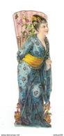 CHROMO DECOUPIS FEMME JAPONNAISE JAPON ÉVENTAIL KIMONO - JAPANESE WOMAN JAPAN FAN KIMONO - VENTAGLIO GIAPPONE KIMONO - Autres