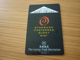 China Beijing The Great Wall Sheraton Hotel Room Key Card - Cartes D'hotel
