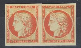 """PAIRE CERES 40c ORANGE Avec VARIÉTÉ """" 4 RETOUCHÉ """" (n°5f) REPRODUCTION En NEUF Avec GOMME** LUXE 1er Choix - 1849-1850 Cérès"""